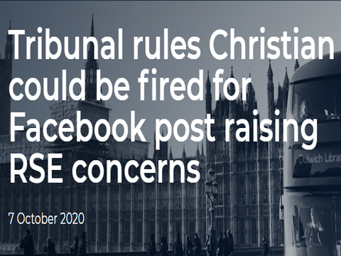 Tribunal rules Christian could be fired for Facebook post raising RSE concerns